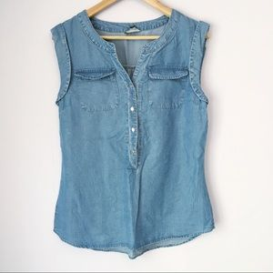 Tops - Chambray Button Up Tank Top Small S